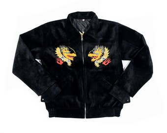 Souvenir Jacket Sukajan Rockabilly Dragon RRL STYLE Vintage Rare Alaska Embroidered Black Velvet Souvenir Jacket