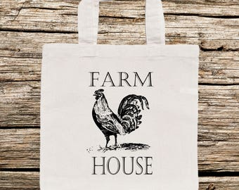 Farm Animal Tote Bags, Rooster/Chicken.Hen Tote Bag, Vintage Animal Tote Bag, Farm Animal Tote Bag,Fun Bag, Personalized/Whimsical Tote Bag