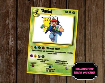 Pokemon Invitation, Pokemon Birthday Party Invitation, Pokemon Card Invitation, Printable Invitation