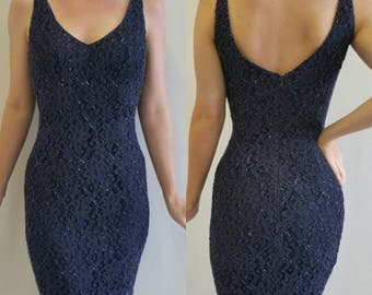 Vintage Navy Blue Lace and Beaded Mini Dress