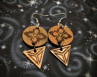 Lotus Petals of Fire and Water Tiered Earrings in Cedar and Oak