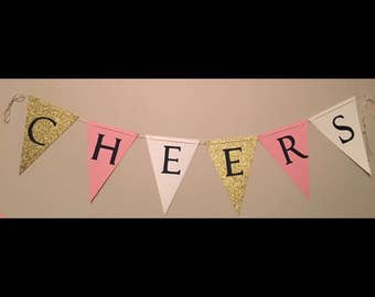 CHEERS banner | Party Decorations | Pink | White | Gold | Bachelorette