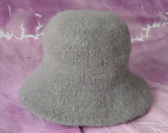 Grey felt hat with pitch from women and girls-100% felted wool knitted and felted-measurement-53-55 cm-then winter