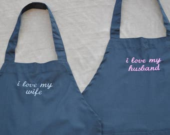 "Embroidered ""I Love My Husband/Wife"" Kitchen Apron Set"