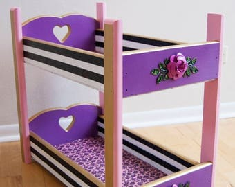 Doll furniture, doll bed, doll bunk bed, children's furniture, kids furniture, hand painted, purple furniture, purple doll bed,