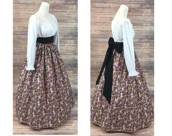 Size 2XL - Complete Outfit - Skirt, Blouse and Sash - Renaissance Civil War Victorian Southern Belle LARP Medieval Pioneer Dress Costume