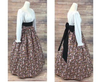 Size XL - Complete Outfit - Skirt, Blouse and Sash - Renaissance Civil War Victorian Southern Belle LARP Medieval Pioneer Dress Costume