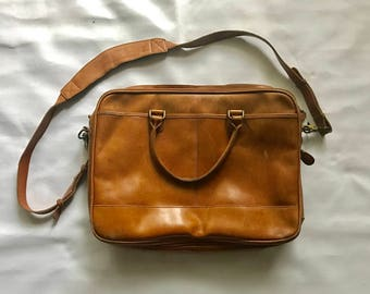 Vintage leather mailer / briefcase bag