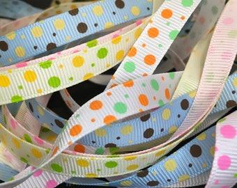 1.5 Metres Polka Dot Grosgrain Ribbon, Dotty, Spots, Bows