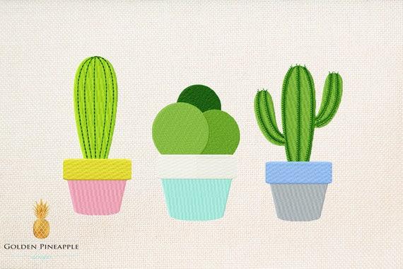 Cactus embroidery design set of sizes mini