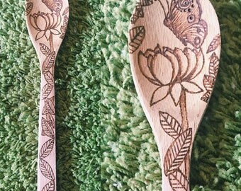 Bamboo Wooden Spoon Butterfly Design