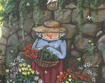 Greetings card 'The Flower lady'