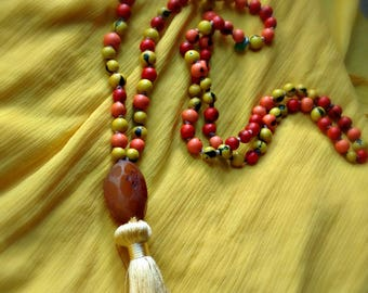 Japa Mala - Red/Green/Beige - 108 Beads with Spacers and Pendant