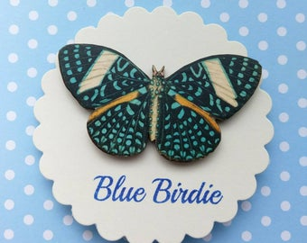 Butterfly brooch blue spot butterfly pin brooch gifts for her butterfly jewlery insect jewelry nature jewelry blue spot butterfly brooch pin