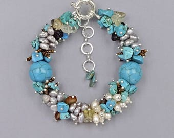 """7.5""""- 10"""" Fresh Water Pearls, Magnesite, seed beads and Citrine bracelet"""