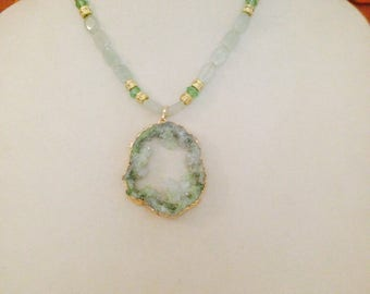Handcrafted Druzy Crystal and green Aventurine beaded necklace with gold tone accents plus free gift
