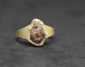 14K, Yellow, Gold, ring, with, 2.90, carats, raw, natural, rough, diamond, elegant, perfection, imperfection, nature, 585