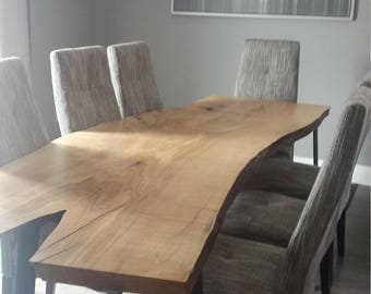 Handcrafted Live Edge White Oak Dining table