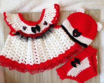 Crochet Minnie Mouse dress, Baby girl red/white dress with diaper cover and hat