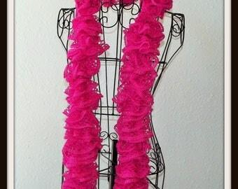 Pretty In Pink Ruffled Scarf, Ruffled Scarf, Thick Scarf, Bulky Scarf, Sashay Scarf, Boho Scarf, Pink Scrarf, Pink Womens Scarf