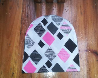 Pink and Gray Print Toddler Beanie