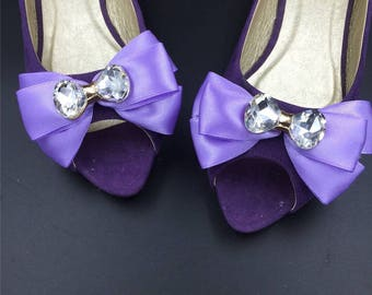 Shoe Clips Accessories, Purple Flower Shoe Clips Parts,Ribbon Pearls Flowers,Hair clips accessories