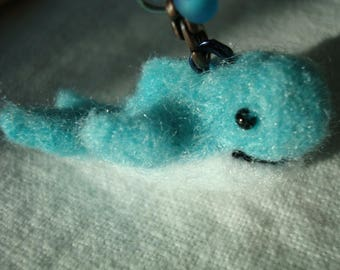 Needle felted miniature blue whale plush keychain