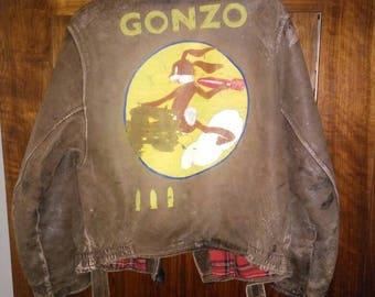 Antique leather jacket Colorful Bugs Bunny Gonzo bomber jacket