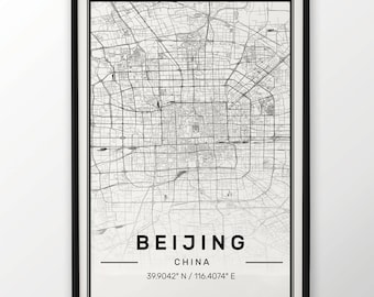 Beijing City Map Print, Modern Contemporary poster in sizes 50x70 fit for Ikea frame All city available London, New york Paris Madrid Rome