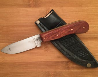 Bushcraft knife - utility knife -  high carbon steel knife - Leather sheath
