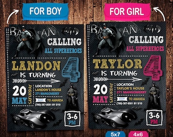 Batman Invitation, Batman Invite, Batman Birthday, Batman Party, Batman Printable, Batman Card, Batman Digital