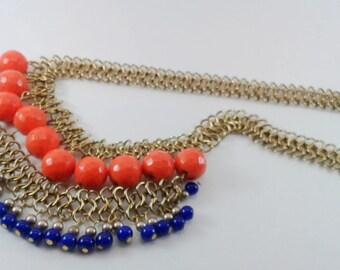 chunky, elegant, ethnic, orange blue and gold bead necklace