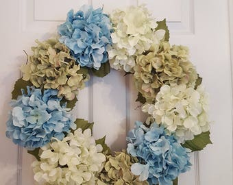 Hydrangea wreath, summer wreath, spring wreath, flower wreath, floral wreath, hydrangea