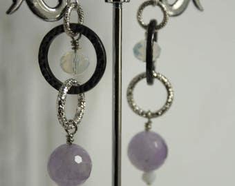 metal earrings, Crystal and Amethyst Lavender