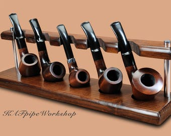 Pipe rack/Stand for 5 Smoking pipes KAF5/Showcase Rack/Holder for 5 Tobacco Pipes/Handcrafted stand for 5 pipes from ASH TREE/Pipe stand