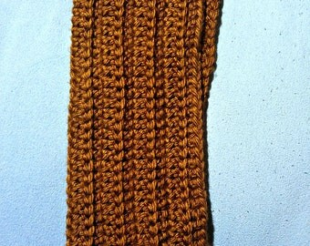 Crochet Brown Ridged Cowl