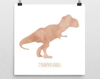Dinosaur Nursery Print – Orange Tyrannosaurus Rex