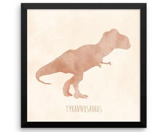 Dinosaur Framed Nursery Print – Orange and Cream Tyrannosaurus Rex