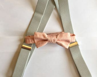 Boys Bow Tie and Suspender Set, Toddler Bow Tie, Baby Bow Tie, Ring Bearer Tie, Bow tie, Gray Suspenders, Summer Wedding Bow Tie