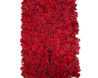 Red - Hydrangea Flower Mat Wall Panel | Floral Supplies | Artificial Flowers