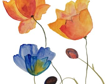 Original Watercolor Painting, Abstract Watercolor, Watercolor Abstract Painting on Paper, Yellow Tulips Art, Tulips Painting, Tulips Bouquet
