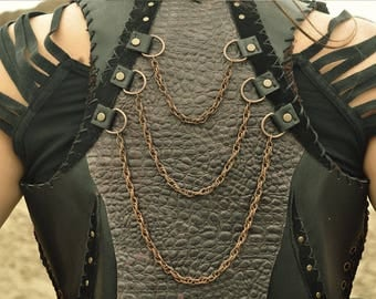 Black Leather Vest Handmade With Chains, Vikings