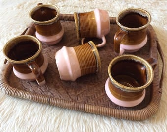 Set of Six Vintage Brown and Pink Drip Glazed Coffee Mugs