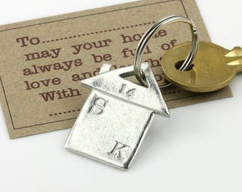 """Personalised Pewter """"New Home"""" Housewarming Keyring New Home Gift, Moving Home Present"""
