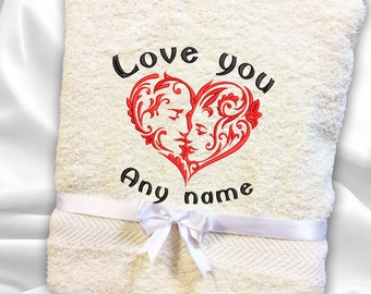 Embroidered Towel Love Named Personalised Gift Red Faces