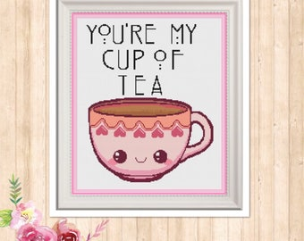 You're My Cup Of Tea Counted Cross Stitch Pattern