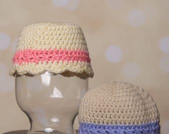 Pink or purple banded flapper hat