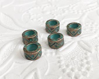12 Large Hole Beads, Large Hole Copper Beads, Patina Cylinder Beads, 9mm x 5mm, BCS009