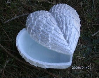 Heart Shaped Trinket Box Angel wings Pearlized white