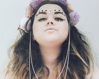 Pom Pom, Flower & Silver Chain purple Festival Headpiece